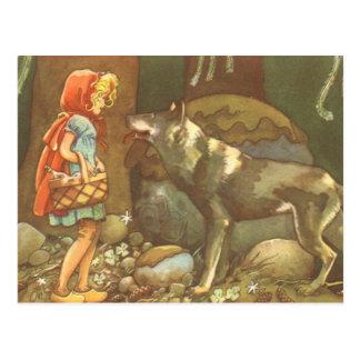Vintage pouca capa e lobo de equitação vermelha na cartões postais