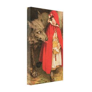 Vintage poucos capa de equitação vermelha e lobo impressão em tela