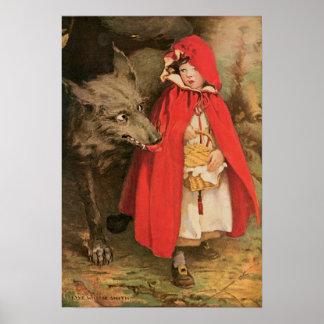 Vintage poucos capa de equitação vermelha e lobo poster
