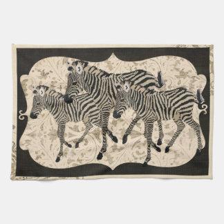 Vintage preto toalha das zebras do marfim