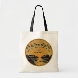 Vintage Produto Rotulagem Arte, Ouro Oeste Oil Sacola Tote Budget