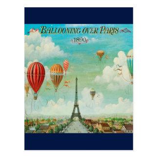 Vintage que Ballooning sobre o cartão do viagem de