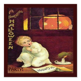 Vintage que excita o Dia das Bruxas Convite Quadrado 13.35 X 13.35cm