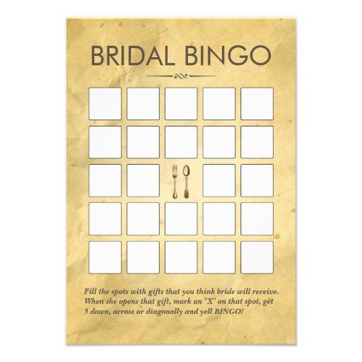 Vintage que janta cartões do Bingo do chá de panel Convite Personalizados