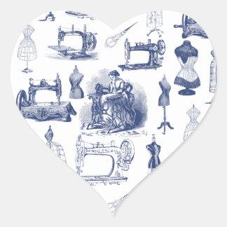 Vintage que Sewing Toile Adesivo Coração
