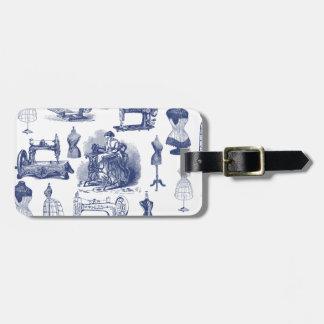 Vintage que Sewing Toile Etiquetas De Bagagens