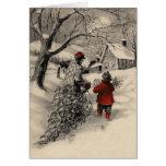 Vintage que traz em casa o cartão da árvore de Nat