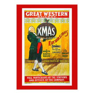 Vintage Railway da excursão do Xmas de Great Weste Convite Personalizado