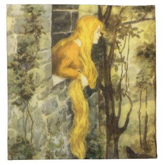 Vintage Rapunzel. Princesa com cabelo louro longo Guardanapos Impresso