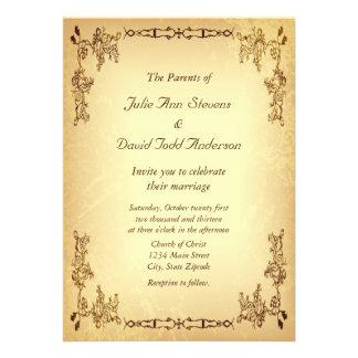 Vintage retro casamento de papel envelhecido convites personalizados