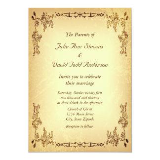 Vintage retro casamento de papel envelhecido convite 12.7 x 17.78cm