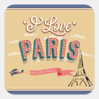 Vintage retro eu amo etiquetas de Paris
