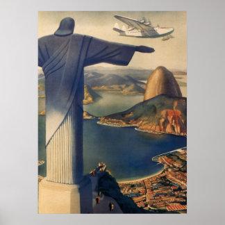 Vintage Rio de Janeiro, cristo a estátua do Poster