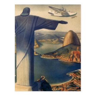 Vintage Rio de Janeiro, cristo a estátua do redent Cartao Postal