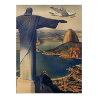 Vintage Rio de Janeiro cristo a estátua do redent Impressão