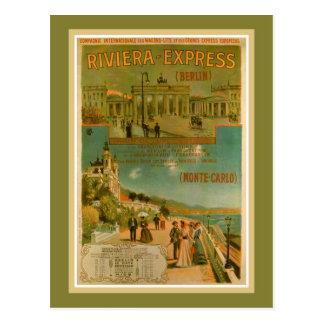 Vintage Riviera Berlim expressa Amsterdão Cartão Postal
