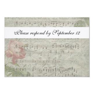 Vintage rsvp cor-de-rosa e da música com envelope convite 8.89 x 12.7cm