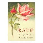 Vintage RSVP Wedding cor-de-rosa pequeno Convite Personalizados