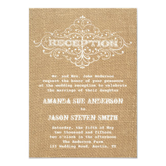 Vintage rústico do convite da recepção de