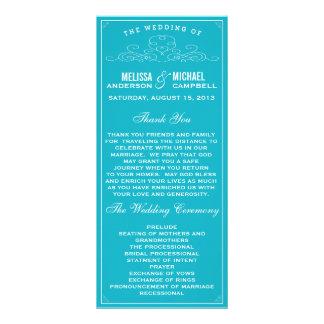 Vintage, rústico, país, programa azul do casamento 10.16 x 22.86cm panfleto