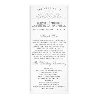 Vintage, rústico, país, programa branco do casamen 10.16 x 22.86cm panfleto