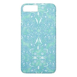Vintage sujo do revestimento do damasco do azul de capa iPhone 7 plus
