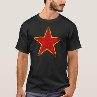 Vintage vermelho comunista da estrela camiseta