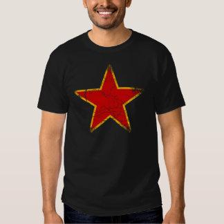 Vintage vermelho comunista da estrela tshirts