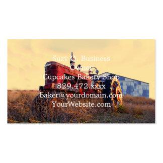 vintage vermelho da máquina do trator velho cartão de visita