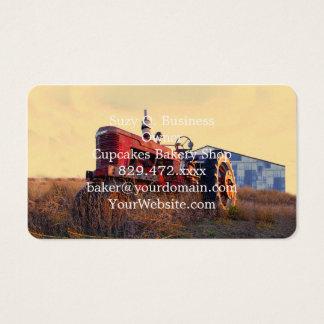vintage vermelho da máquina do trator velho cartão de visitas
