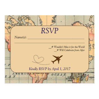 Vintage, viagem que Wedding o cartão de RSVP