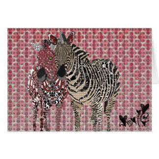 Vintage Zeb & namorados cor-de-rosa de Zenya Cartão Comemorativo