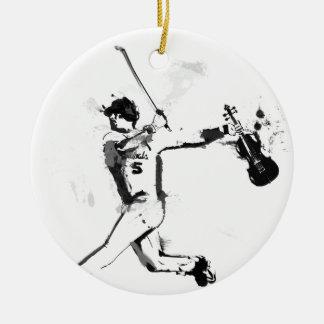 Violinista do basebol ornamento de cerâmica