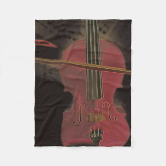 Violino cor-de-rosa pintado cobertor de lã