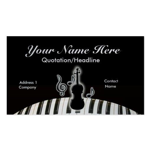 Violino e teclado modelo cartoes de visitas