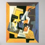 Violino e vidro por Juan Gris, Cubism do vintage Posteres