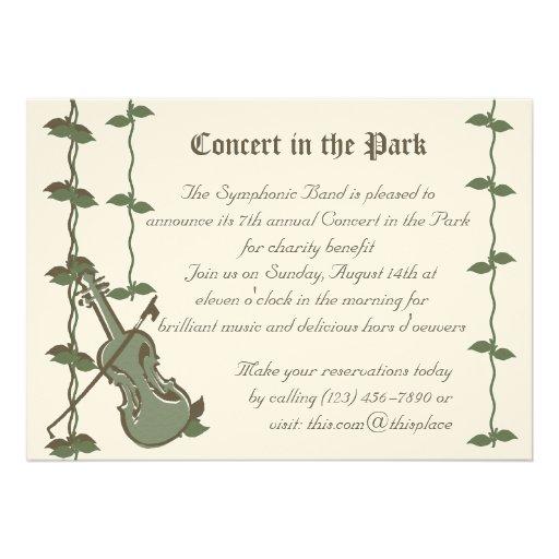 Violino musical da natureza convite personalizado