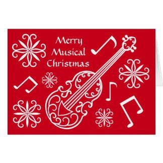 Violino vermelho e branco do Natal musical alegre Cartão