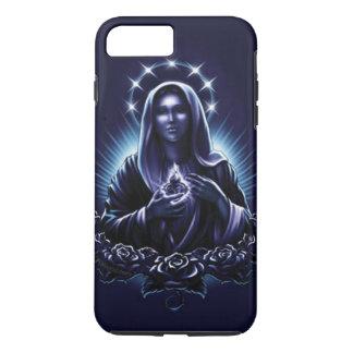 Virgem Maria abençoada - Madonna e rosas roxos Capa iPhone 7 Plus
