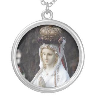 Virgem Maria Colar Banhado A Prata