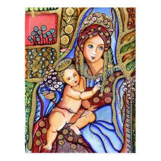 Virgem Maria e pintura da criança de Jesus Cartão Postal