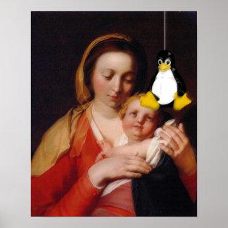 VIRGEM MARIA JESUS LINUX TUX POSTER
