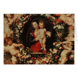 Virgin com uma festão das flores, c.1618-20 cartão