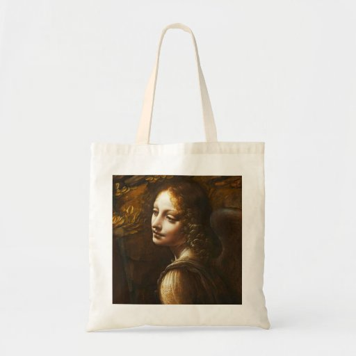 Virgin de Leonardo da Vinci do anjo das rochas Bolsa Para Compras