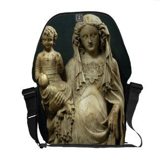 Virgin e criança, c.1375 (alabastro) bolsas mensageiro
