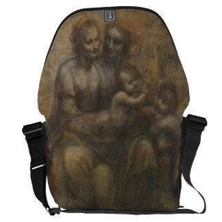 Virgin e criança com o St Anne por Leonardo da Vin Bolsas Mensageiro
