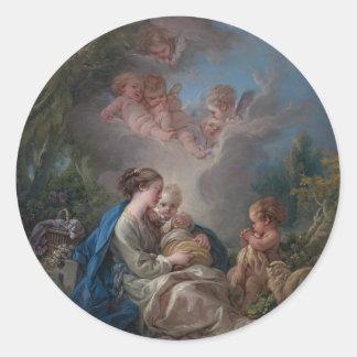Virgin e criança - François Boucher Adesivo Redondo