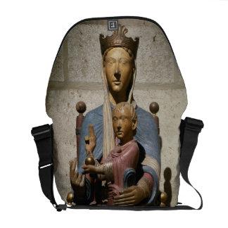 Virgin e criança, (madeira policroma) bolsa mensageiro