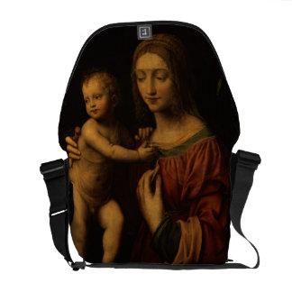 Virgin e criança (óleo no painel) 2 bolsa mensageiro