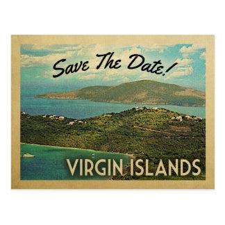 Virgin Islands salvar os cartão do vintage da data
